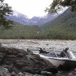 Brent mooring the Boat while we all went for walk in the East arm of Matukituki river