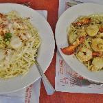 Seafood Alfreedo & Seafood Scampi