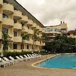 The hotel and swimming pool