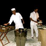 Private dinner on island; chef at work