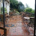 Vue du jardin d'hiver au terrasse