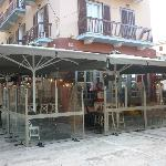 Sokaki during the winter time with glass partitions