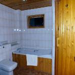 family bathroom with sauna