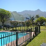 The swimming pool with the beautiful Outeniqua mountains in the background