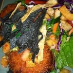 salmon cakes w/ salad greens