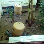 Room Facilities. Water tanks and pipes outside bedroom window. The Bad.
