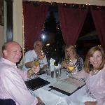 We are toasting while enjoying our Italian Pino Grigio