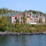 The view of the Lodge from the rock outcropping on the Cove