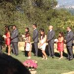 Part of the bridal party with mountains in background