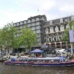 Park Hotel from across the canal. New part is to the left. Canal Boat station in front