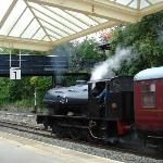 View of train just pulling in at Matlock station from Rowsley