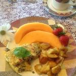 Italian fritatta, fresh fruit
