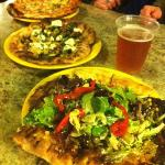 Pizzas, beer, Salad topped pizzas