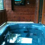 hot tub with outdoor tv