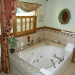 Spectacular, oversized Jacuzzi tub.