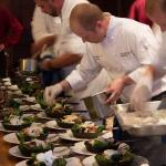 Chef Stephen plates a warm spinach salad
