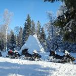 Trip by snowmobiles to little Reindeer Camp