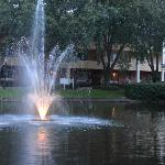 lake at the center of the resort building