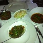 Chicken Tikka Naga and Duck Garlic Balti, Pilau Rice and Bindi Achari (Okra).