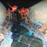 Glass floor depicting water