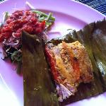 fish steamed in banana leaf