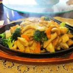 Sizzling Chicken with veges in Black Bean Sauce