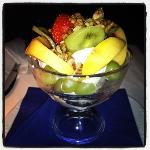 fruit with nuts and yoghurt