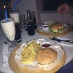 cheeseburger and vanilla milkshake room service