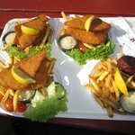 Delicious fish and chips and fish cakes