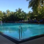 restaurant overlooks this stunning pool