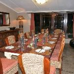 Dining room with table set up for 12