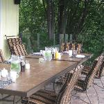 Breakfast was served on the covered deck, beautiful morning!