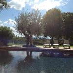 View across the pool & garden towards Lake Trasimeno