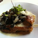 French Toast with ragout of wild mushrooms and balsamic syrup