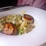 Seared Sea Scallops with brussel sprouts, noodles and pernod cream