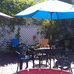 The patio area with a bbq and hot tub not in picture.