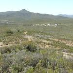 A scenic view on a walk, with African Game Lodge in the middle background.
