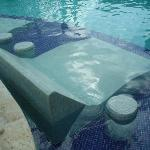 Double underwater chaise with side tables