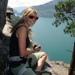 Erin on top. Stone Hill climbing area, Montana