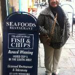 Outside the Fish and Chips shop, Bath