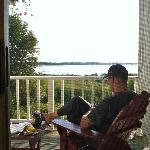 Relaxing on our deck with shore/lake view.