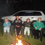 Children enjoying the brazier fire
