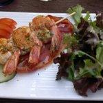 king prawns on serano ham