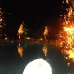 Fireworks at beach party