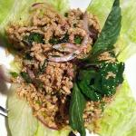 larb gai, ground chicken salad