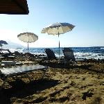 The beach at the blue sea taverna