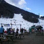 View of the piste from the hotel's ski bar