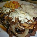 NY Strip with added mushrooms, onions and blue cheese!