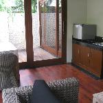 One bedroom villa with pool - living area