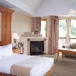 Hospitality Suite with Queen Murphy bed, kitchenette, fireplace, and 180 degree views